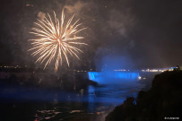 Niagara Falls in the evening with fireworks